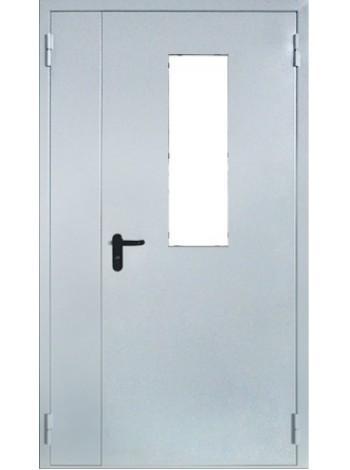 Дверь противопожарная металлическая двупольная с остеклением до 25% площади дверного проема